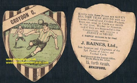 1912 Baines Ltd g&b football card Croydon Common FC Crystal Palace fans interest